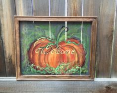 Welcome fall old window screen hand by RebecaFlottArts on Etsy