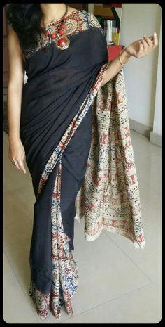 Black Kalamkari Handloom Saree With Indian Motifs