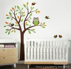 Tree with Owl and Birds - Nursery Vinyl Wall Decal. The tree will come in two pieces for easy installation. The decal pack includes one owl and 5 birds. You can choose 3 accent colors for this decal as shown on the item