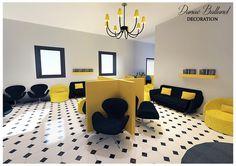 Décoration aménagement intérieur / Salle d'attente cabinet médical / Ambiance gaie et rétro / idée inspiration / Danaé BALLAND décoratrice / www.danaeballand-decoration.fr
