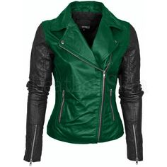 Leather Skin Womens Green Brando Genuine Leather Jacket with Black Sleeves Lederhaut Damen Grün B . Green Leather Jackets, Leather Jacket Outfits, Leather Skin, Black Leather, Soft Leather, Biker Leather, Vintage Leather, Revival Clothing, Moda Emo