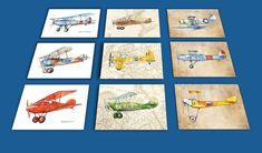 Airplane decor ANY set of 9 prints Vintage prop by Mirabilitas