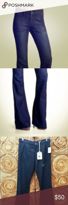 AG The Goldie Ranger Pocket Flare Jeans Zipper fly with button closure Front patch pockets Back welt pockets.  10' rise, 35' inseam, 22' leg op. 30% Cotton, 45% Rayon, 25% Poly AG Adriano Goldschmied Jeans Flare & Wide Leg