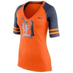 Nike Detroit Tigers Women's Orange Logo Fan 1.4 V-Neck T-Shirt #tigers #detroit #mlb