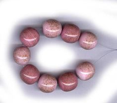 vintage ART GLASS beads AVENTURINE sparkle in pink and dusty