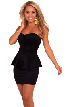 Strapless Sweetheart Bust Waist Ruffle Evening Party Cocktail Peplum Dress S M L « Clothing Impulse
