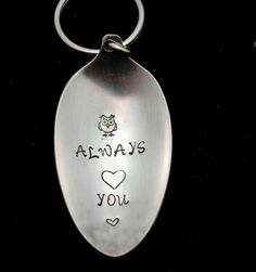 Stamped Spoon Owl Always Love You Key Chain by TheSilverwearShop