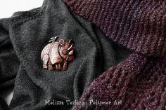 https://flic.kr/p/DqP7Zb | Copper rhinoceros with a silver bird | Pin