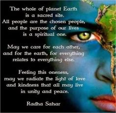 Loving each other and living in peace and harmony with each other.