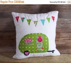 Camper Pillow. Vintage Camper Pillow. Camping decor. Glamping decor. Camping Pillow. Pillows with Campers. Pillows with Vintage Campers.Sisters on the Fly Pillow. Freckles Jewelry. Green with White Polka Dots  This pillow is shown with a Green Polka Dot print camper. Each pillow is handmade from hand cut high quality quilting fabric. 100% White Cotton Muslin Envelope Style back made from white muslin Pillow Insert Included 12 x 12 finished size  $36.00 Item #14  Wholesale available