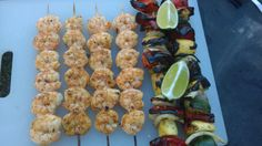 Grilled shrimp and veggie kabobs. #grilling #BBQ #Deals #recipes #discounts #summer #foodie #food #recipe #free