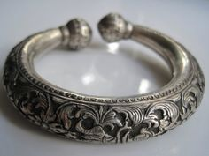 Vintage Asian Bracelet  Silver Ethnic Bangle with by Anteeka