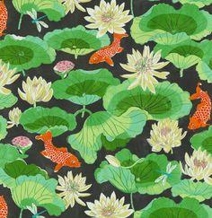 Home Decor Print Fabric- Waverly Lotus Lake Ebony, , hi-res