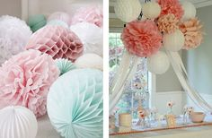 Paper Pom Poms Wedding ~ DIY Hanging Wedding Decorations for the future,Party Ideas,Wedding Bells. Hanging Wedding Decorations, Handmade Decorations, Wedding Bells, Diy Wedding, Dream Wedding, Wedding Ideas, Garden Wedding, Wedding Pom Poms, Honeycomb Paper