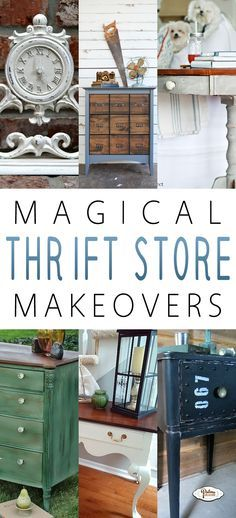The best DIY projects & DIY ideas and tutorials: sewing, paper craft, DIY. Diy Crafts Ideas Magical Thrift Store Makeovers - The Cottage Market.love the white clock .I'll have to look for one and paint it with chalkboard Thrift Store Furniture, Refurbished Furniture, Repurposed Furniture, Furniture Makeover, Diy Furniture, Furniture Refinishing, Recycling Furniture, Chair Makeover, Upcycled Home Decor