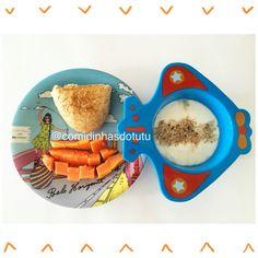 Café da manhã do tutu: Iogurte natural caseiro, mamão e pão francês integral com queijo cottage