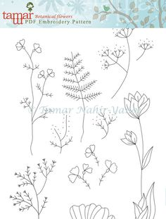 Welcome to my shop. This listing is for a PDF Download of the Embroidery Pattern: Botanical Flowers  Included in the PDF file: Black and white image of the embroidery pattern. Color image of the embroidery design with a DMC thread color guide.  The PDF is designed to be printed on an A4 paper. You can trace the pattern on your fabric with an air soluble marker and a window/light table. -------------------------  How do I download a digital item I purchased? After purchasing a digital fi...