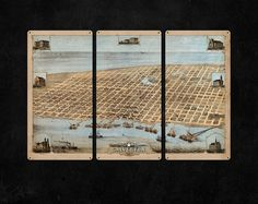 I created this lovely metal triptych using a beautiful old map of Galveston, Texas, circa 1871.  Each sleek panel measures 12x24, for a total display size of 36x24, and is made from steel.  Each corner is drilled and riveted for instant display.  I will ship this for FREE anywhere in the lower 48.  I make each of these triptychs to order, and it takes me about 10-15 business days to produce once the payment has cleared. Please consider the production and shipping time before ordering.  I…
