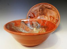 Set of 2 nesting bowls with terracotta by MarkCampbellCeramics, $35.00