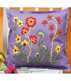 Janlynn Kool Felt Wild Flowers Pillow Crewel Embroidery Kit : crewel kits : cross stitch : needle arts : Shop | Joann.com