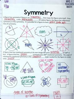 symmetry notes for interactive notebooks in high school geometry *free download* Geometry Lessons, Teaching Geometry, Math Lessons, Teaching Math, Maths, Math Math, Math Class, Teaching Tips, Geometry Interactive Notebook