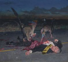 """Jurassic Park 5: Road Kill  (Alt. Captions Welcome). """"Dinosaurs Eating CEO"""" oil on canvas by the brilliant John Brosio. Shared by Galileo Hernandez."""