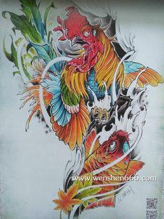 鸡纹身手稿 彩色鸡纹身手稿 鸡鲤鱼手稿纹身