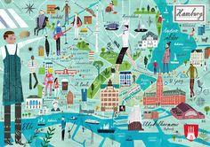 Hamburg illustrated #map by Martin Haake