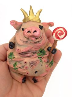 Polymer Clay Pig King Fat Pig Totem Polymer by SoUglyitsCuteCrafts, $45.00
