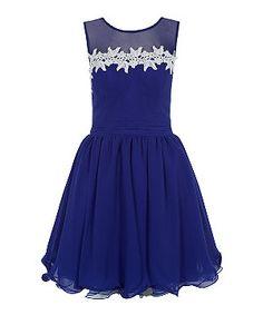Navy (Blue) Dark Blue Crochet Trim Sheer Panel Flounce Prom Dress    304821941   New Look