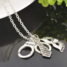 50 Shades of Grey Freedom Handcuffs Mask Tie Necklace Retro