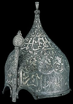 This especially attractive and well-preserved turban-shaped helmet is stamped with the mark used in the Ottoman arsenals. At least one turban helmet decorated in a style comparable to this example bears the name of Farrukh-Siar (r. 1464–1501), ruler of Shivran in the Caucasus