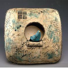 "Square wall nest - Kelly Thiel  2.5"" x 7.5"" x 7.5"" Stoneware sculpture with underglazes"