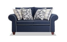 Navy Blue And Grey Living Room, Navy Blue Couches, Blue Loveseat, Navy Couch, Living Room Grey, Living Room Sofa, Living Area, Living Room Furniture, Beach Furniture