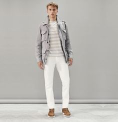 Men's White Jeans and Contrast Footwear Outfit Inspiration Lookbook