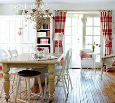 DeCORAÇÃO - Cottage rústica e romântica em vermelho e branco!!#!/