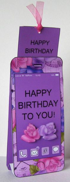 3D Smartphone Shaped Birthday Roses Card & Gift Card Holder