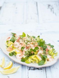 Simple roast salmon with summer leaves & a Marie Rose dressing