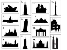 Cut silhouette and using scrapbook paper or newspaper for artsy collage look.   Can you name the famous buildings from their silhouettes? Quiz by Parliament_Boy - Sporcle Games & Trivia