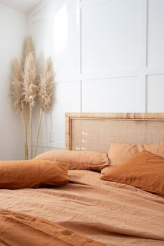 Home Interior 2019 has taken our Ochre & Sandalwood French Linen and styled it with a beautiful headboard by we're in love with this interior dream Home Bedroom, Bedroom Decor, Bedroom Ideas, Dream Bedroom, Target Bedroom, Calm Bedroom, Bedroom Signs, Decorating Bedrooms, Diy Decorating