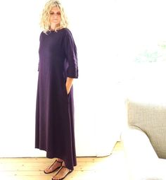 Purple Linen /Cotton Maxi Dress - Summer Fashion, via Etsy