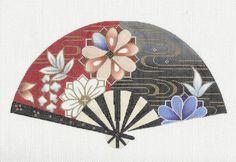 Elegant Oriental KOTO MELODY FAN handpainted Needlepoint Canvas by Sophia #SophiaDesigns #HandpaintedOriental