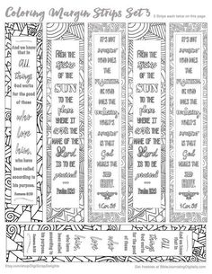 Printable Coloring Bible Journaling Margin by DigiScrapDelights #zentangle #zendoodle #bookmark #marginstrip #biblejournaling #planner #plannerlove #planneraddict #plannerdecoration #coloring #adultcoloring #printable