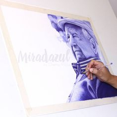 """Ya falta poco. #miradazul #chemamora #ballpointpen #boligrafo #portrait #art"""
