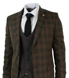 Mens 3 Piece Brown Retro Black Check Herringbone Tweed Suit Tailored Fit