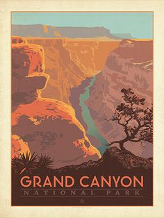 Grand Canyon National Park: River View - Anderson Design Group has created an award-winning series of classic travel posters that celebrates the history and charm of America's greatest cities and national parks. Founder Joel Anderson directs a team of talented Nashville-based artists to keep the collection growing. This print celebrates the soaring grandeur of Grand Canyon National Park.