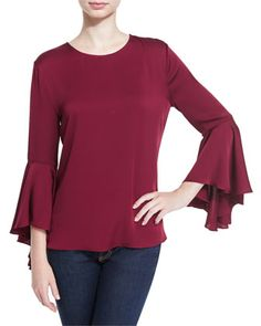 3/4-Bell+Sleeve+Stretch-Silk+Top,+Bordeaux+by+Milly+at+Neiman+Marcus.