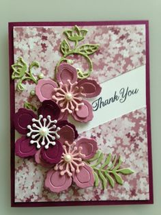 A Botanical Builders and Gift of Love Diagonal Slit Technique Thank You Card