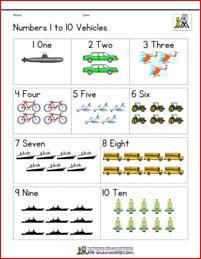 Numbers 1 to 10 vehicles theme Kindergarten Age, Kindergarten Math Worksheets, Math Resources, Pre K Worksheets, Printable Math Worksheets, Numbers 1 10, Numbers Preschool, Math Games, Homeschooling