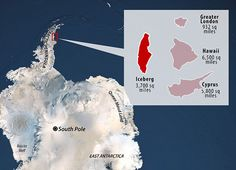 A giant, trillion-tonne iceberg has just split away from Antarctica. The iceberg, which has an area of roughly 4 times the size of London at 5800 km2, was part of an ice sheet known as Larsen C. The iceberg that has just broken away from Antarctica from Antarctic today compared to London, Hawaii, and Cyprus.